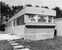 Archived photo of a vintage mobile home.