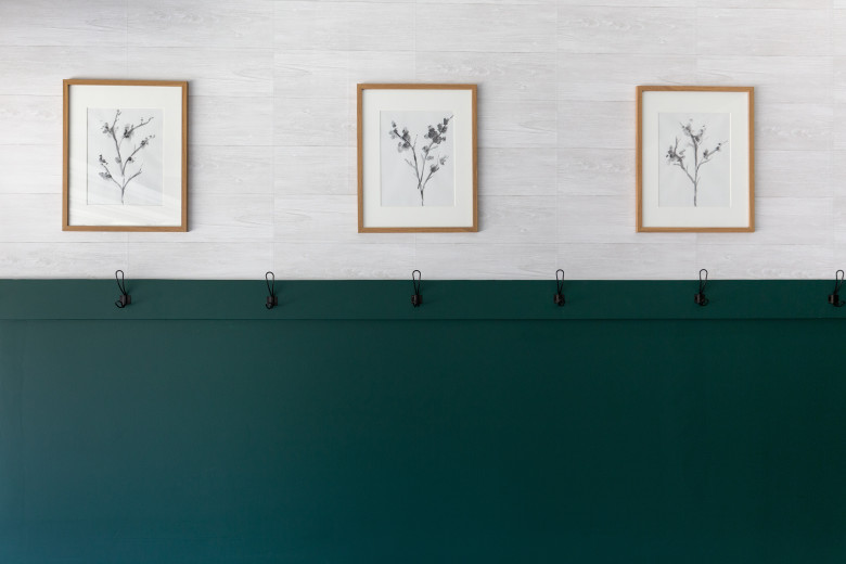 Garage wall with green paint and faux shiplap wall paper, coat hooks and 3 picture frames with paintings of plants