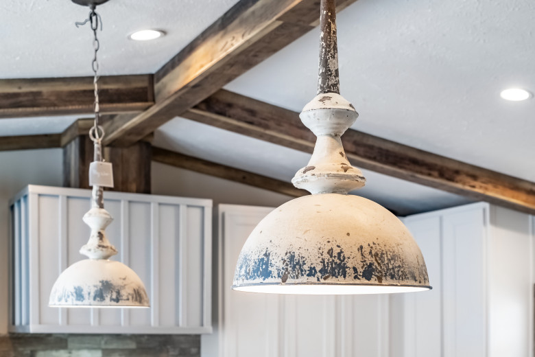 Hanging lights in a Clayton Built® home kitchen.