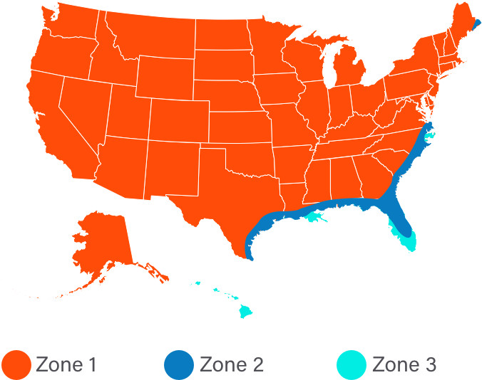 Wind zone map of the United States.