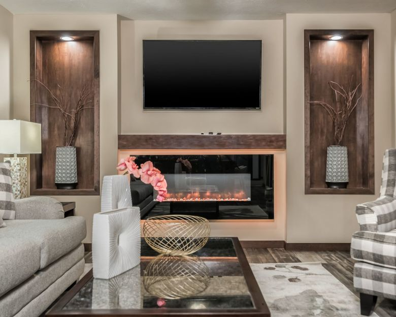 mobile home electric fireplace in a modern living room.