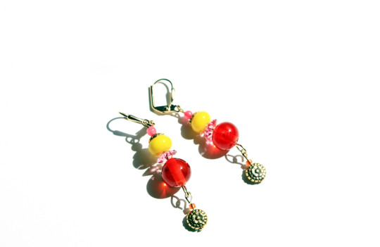 Boucles d'oreilles orange et jaune Bollywood