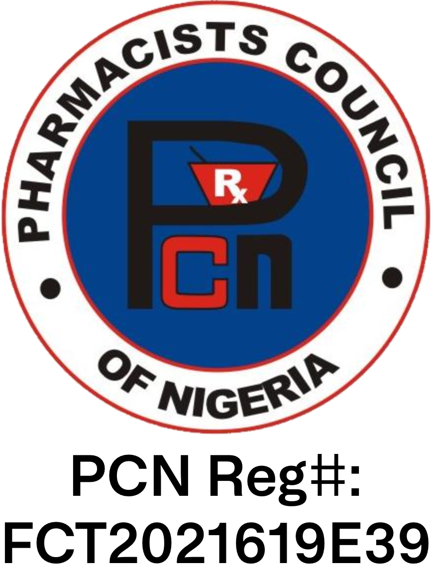 Pharmacy Council of Nigeria – Reg#: FCT2021619E39