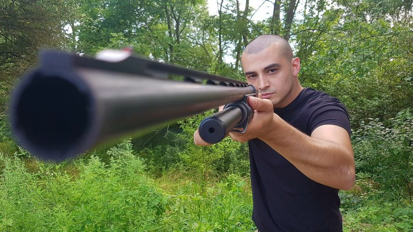 Schießstand in Prag mit Shotgun.