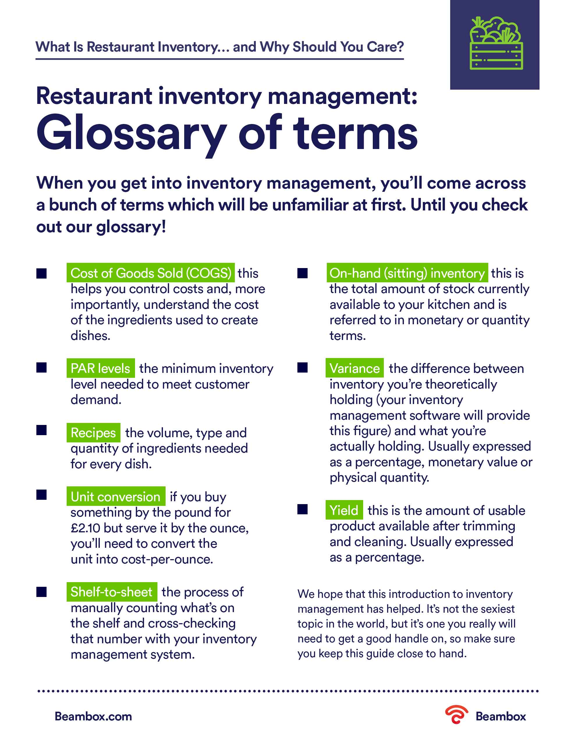 Restaurant-inventory-management---Glossary-of-terms