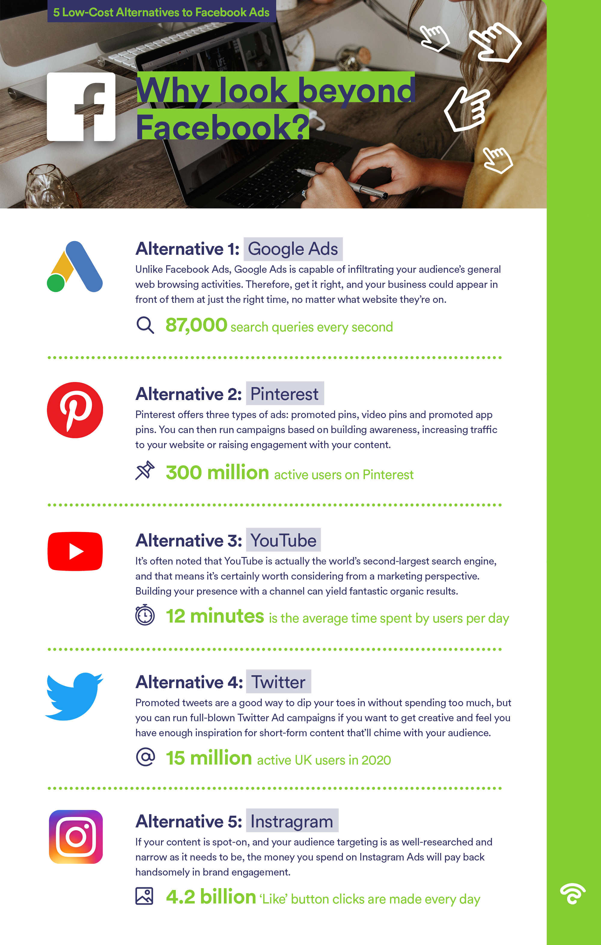 5 low cost alternatives to facebook Infographic