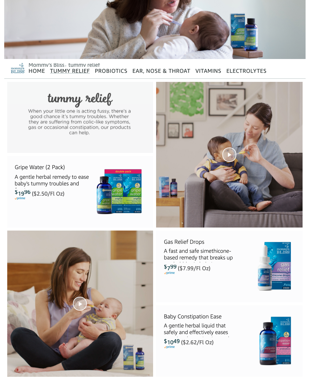 Mommy's Bliss Amazon Storefront example | Pattern Creative Services