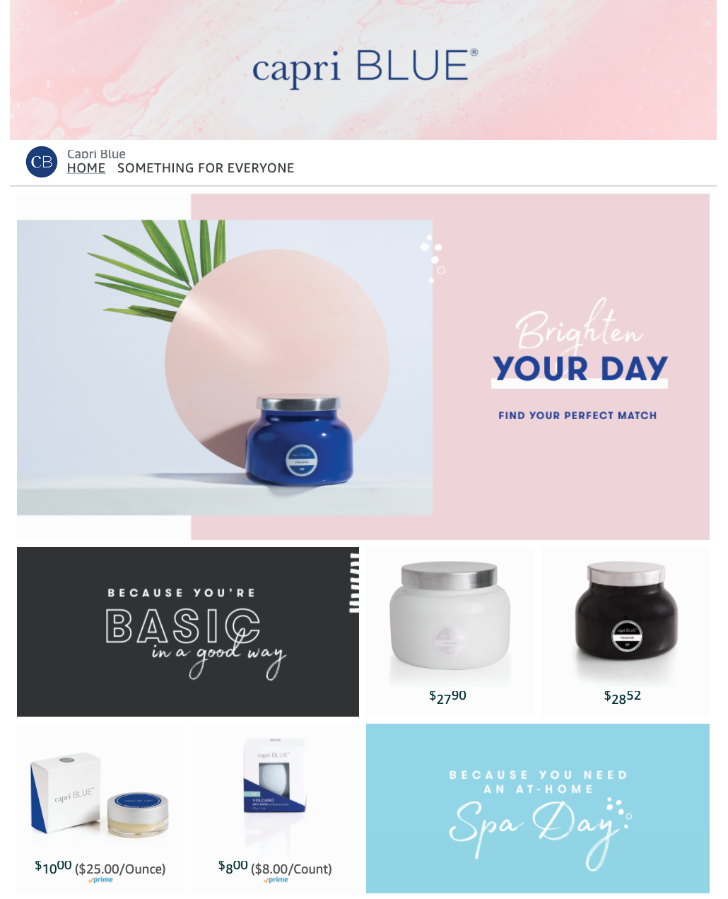 Capri Blue Amazon Storefront example | Pattern Creative Services