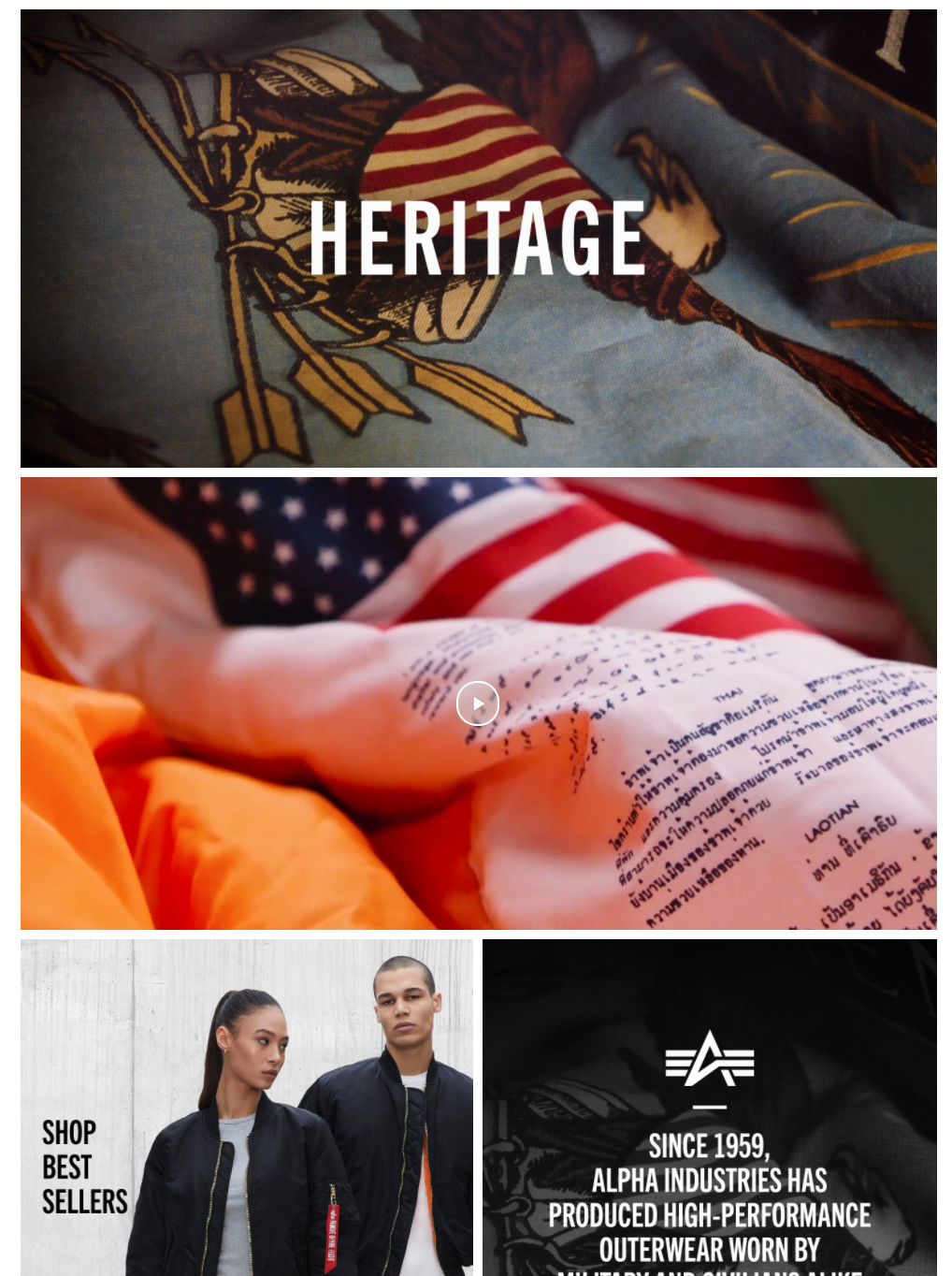 Alpha Industries Amazon Storefront example | Pattern Creative Services