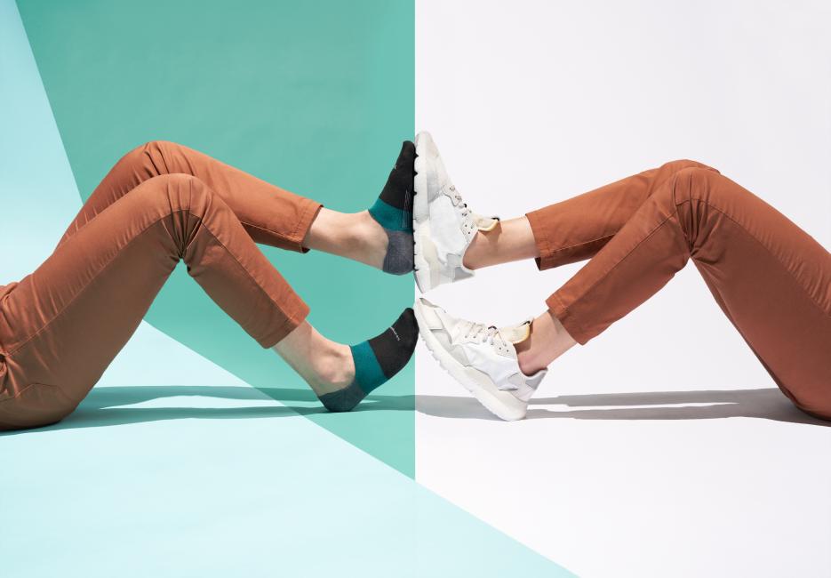 Legs split screen touching