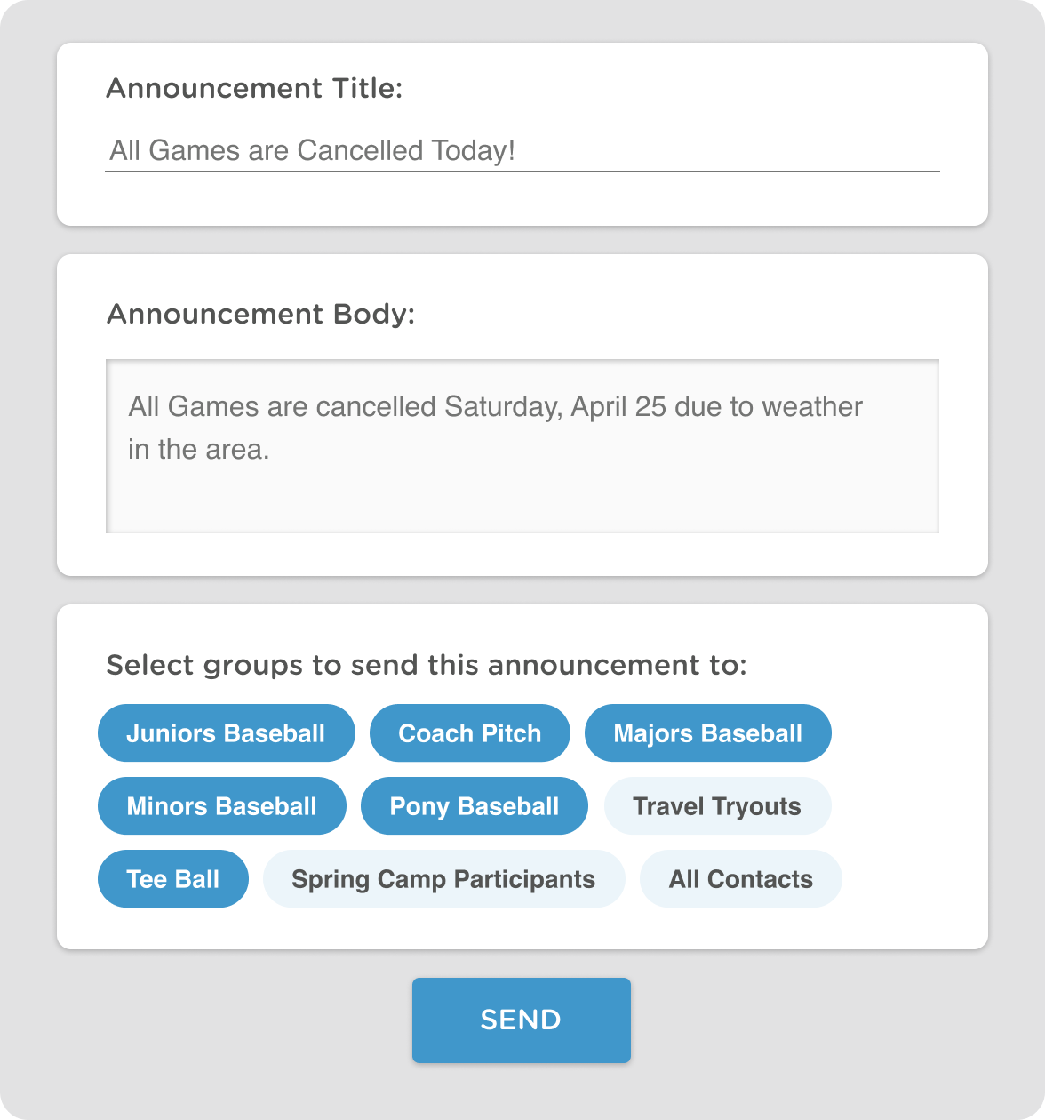 email and texting communication tools for baseball leagues and teams