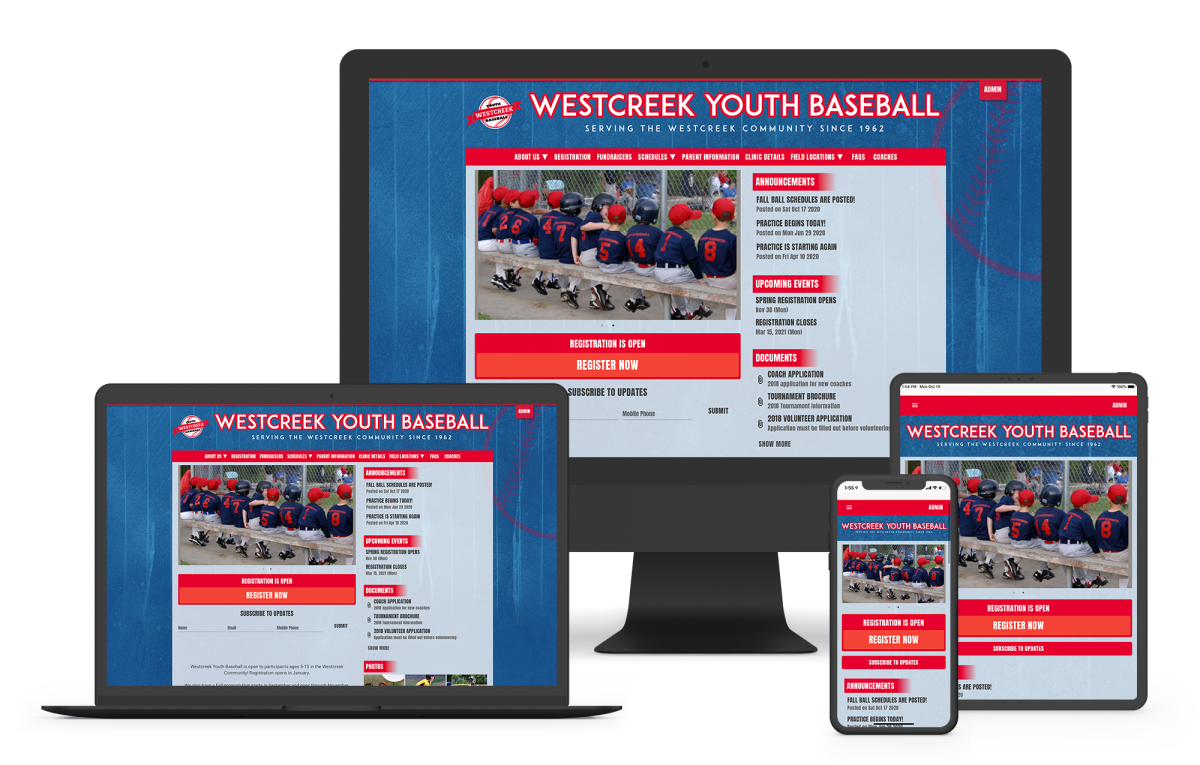 a baseball website template for teams and leagues including online registration, player management, and webpage templates