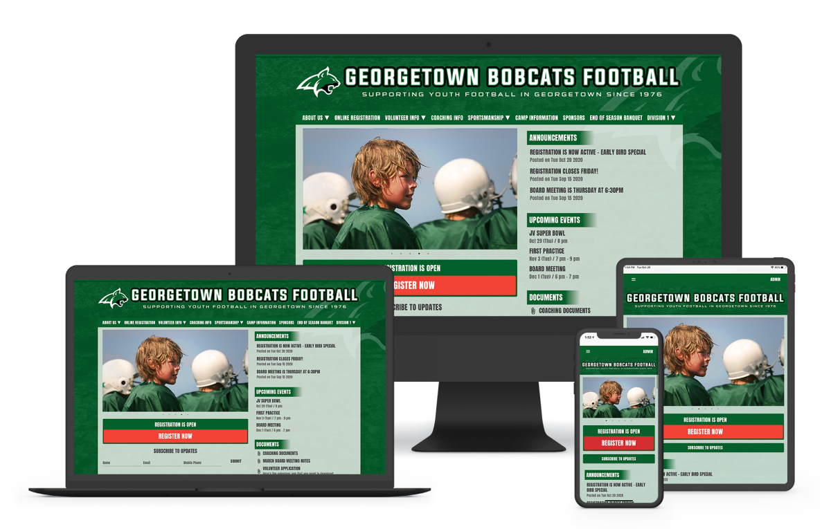 a football website builder for youth or high school teams with online registration, scheduling, and football webpage tempates