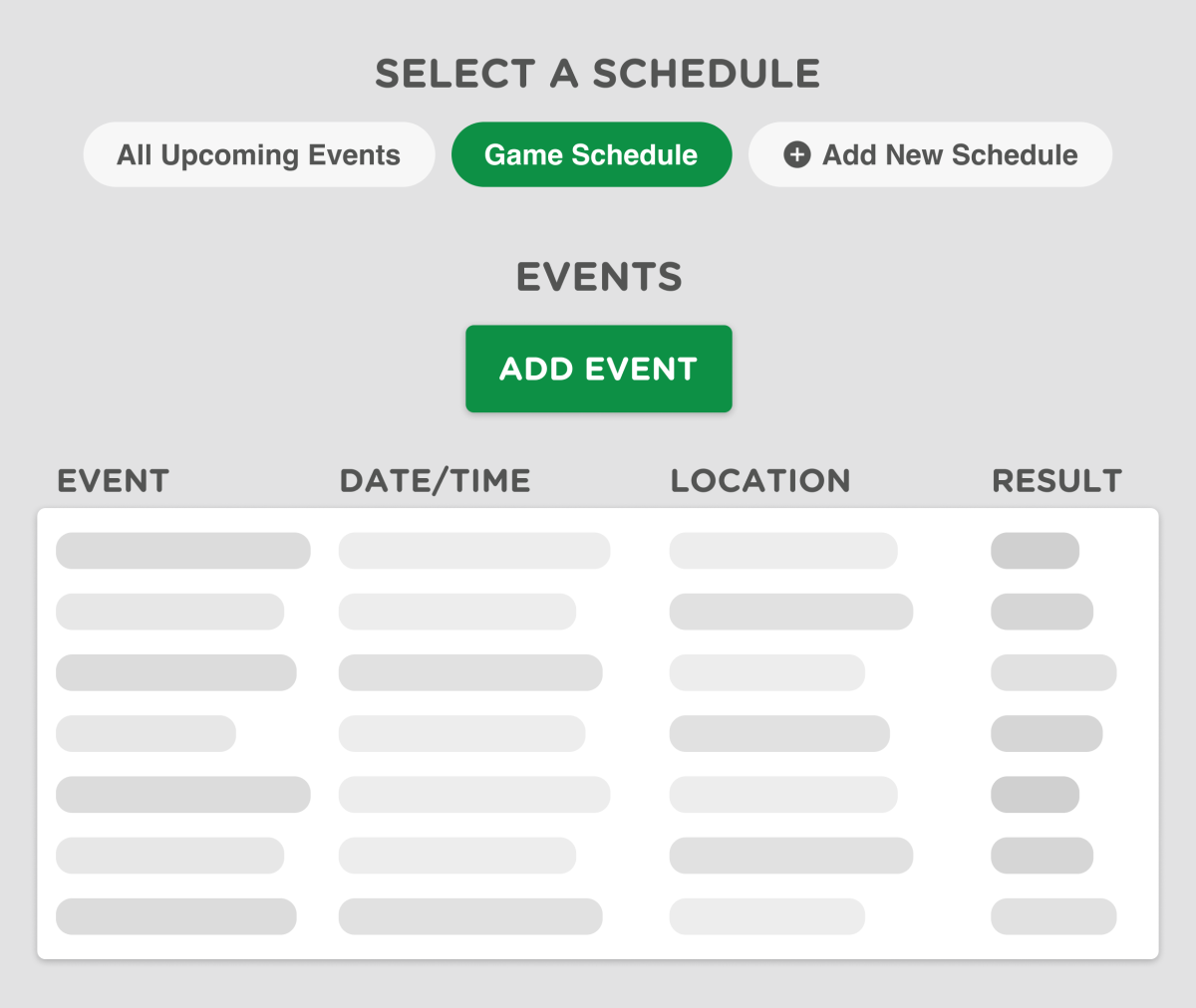 a sports website scheduler with games and events
