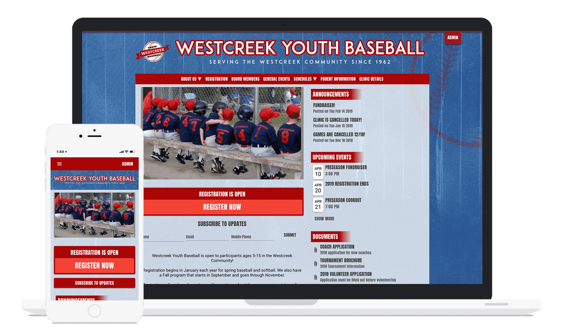 a youth baseball website