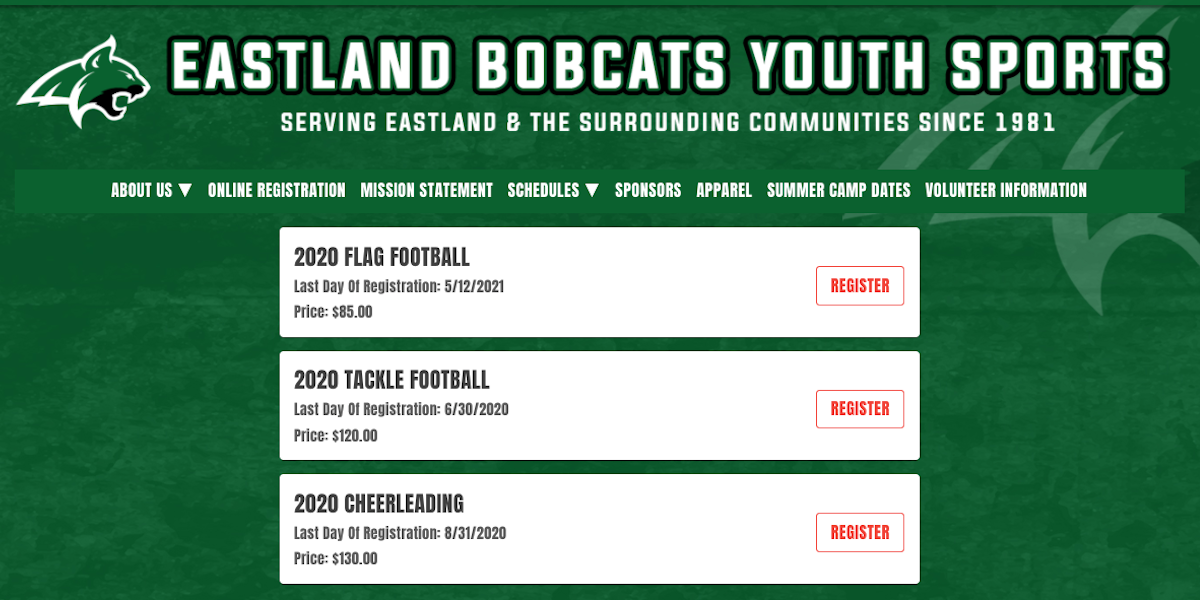 youth football online registration programs