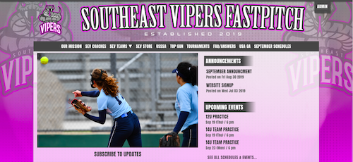a website for a travel softball program