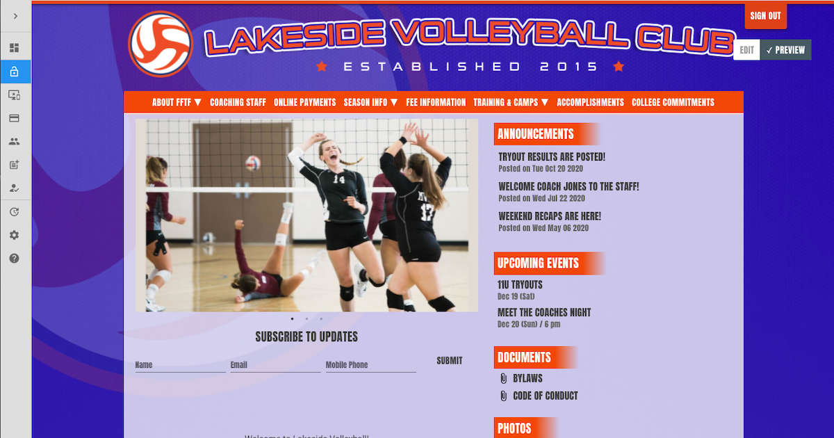 a website for a club volleyball program with online payments
