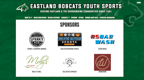 youth sports sponsors on a website