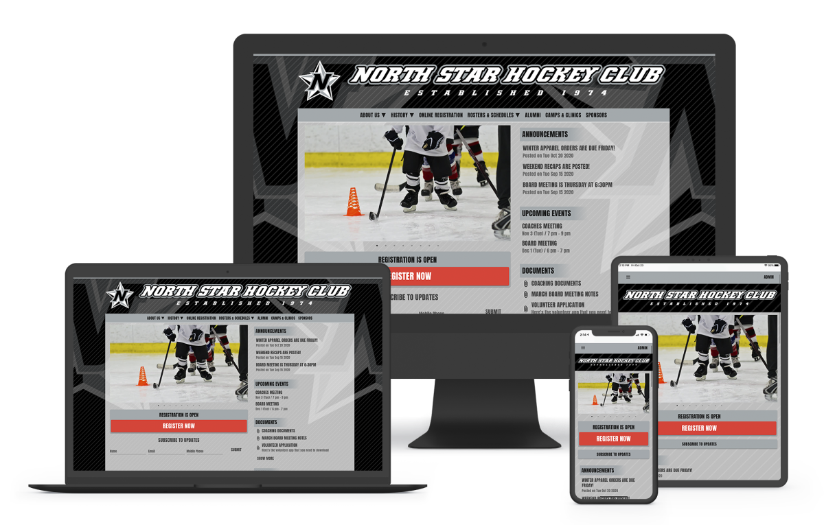 a website builder for hockey teams and clubs with online registration and game scheduling