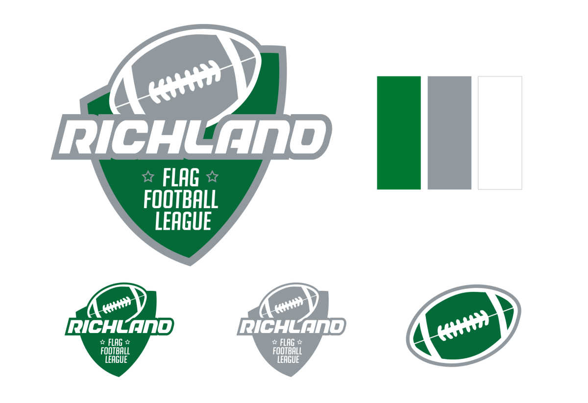 a logo and branding for a flag football league