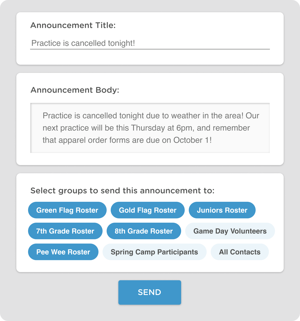email and texting communication tools for sports leagues and teams
