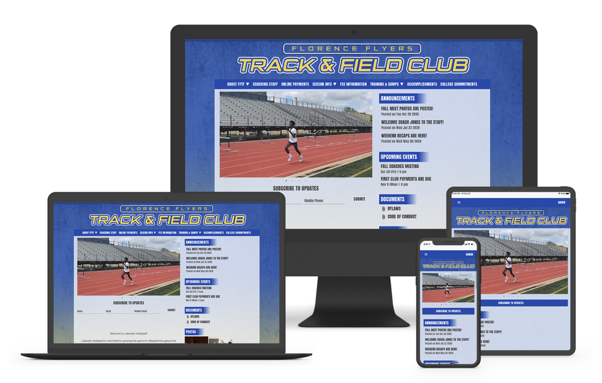 a website builder for track and field or cross country programs with registration and scheduling