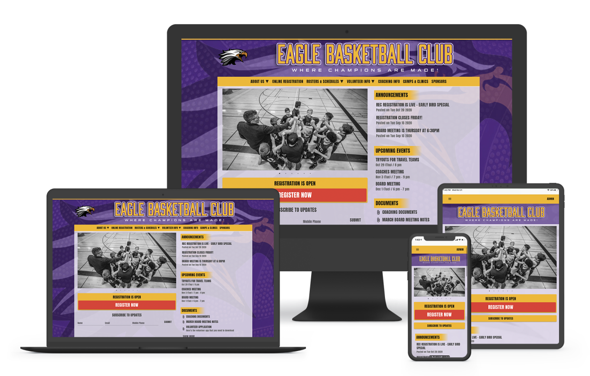 a basketball website builder for teams and leagues with online registration, scheduling, and webpage templates