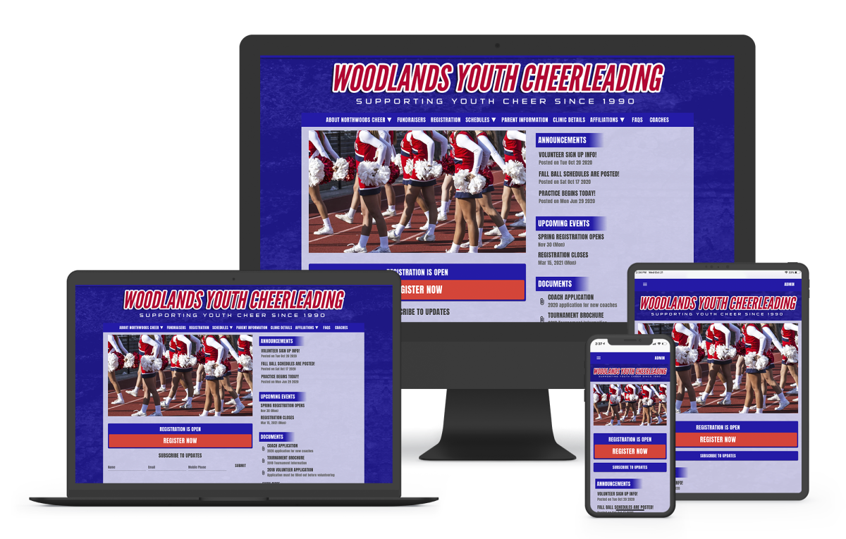 a website builder for cheerleading programs with online registration and schedules