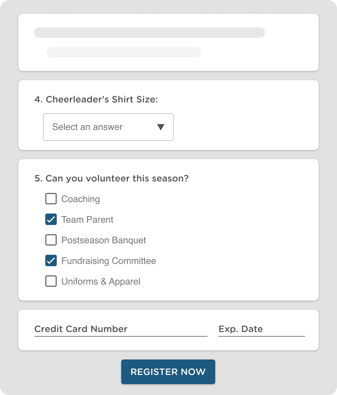 Cheerleading Registration Software