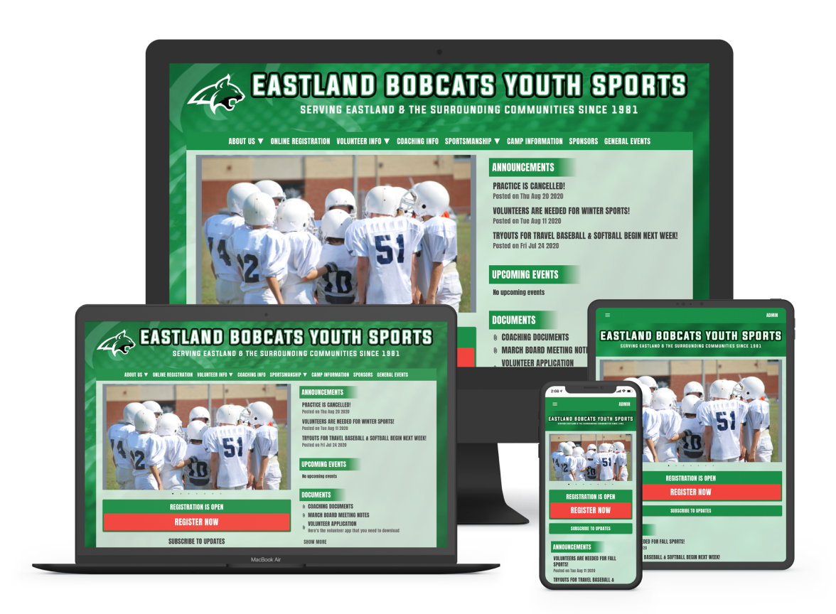 a sports website builder with registration management software shown on different devices including mobile friendly