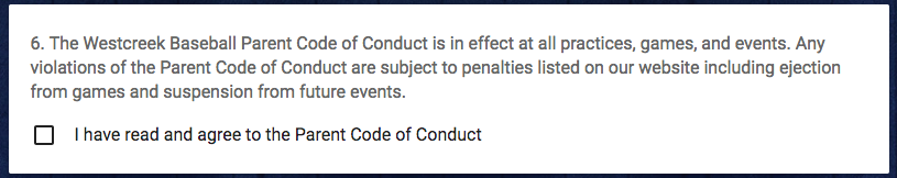 an online youth sports parent code of conduct