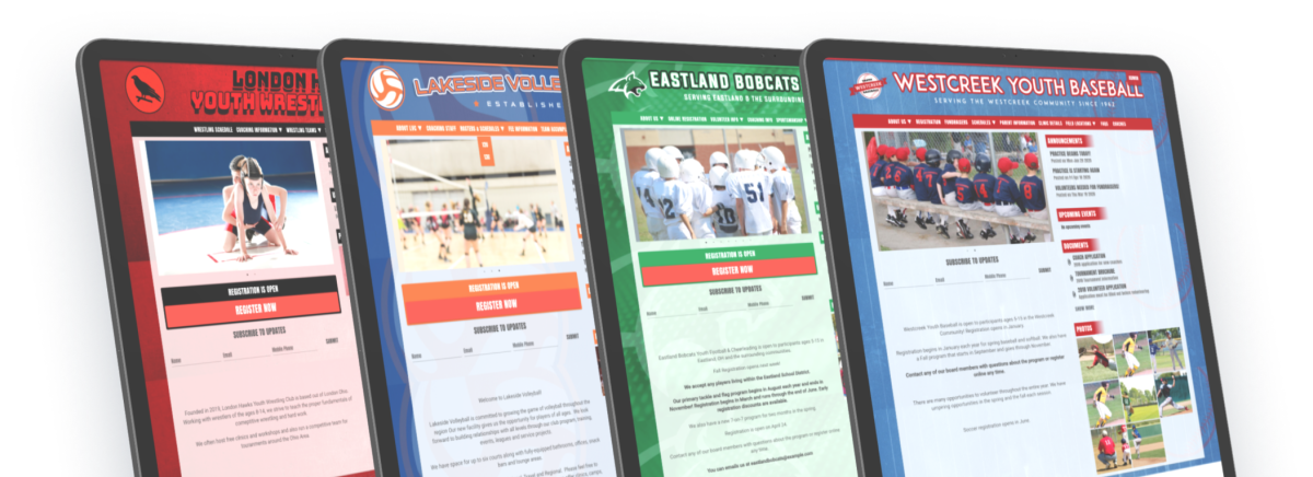 simple sports website templates with custom designs for youth teams, clubs, and leagues