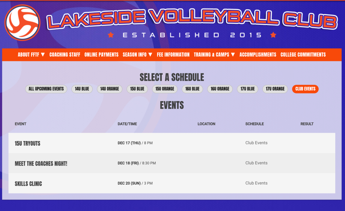 club volleyball team events on a website