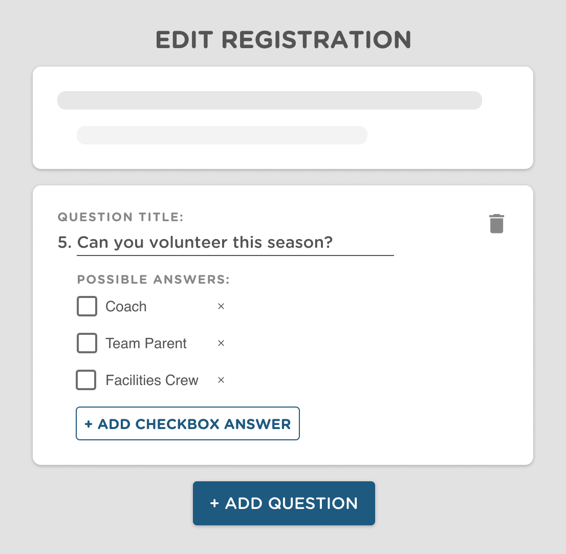 a sports registration form builder for teams and leagues