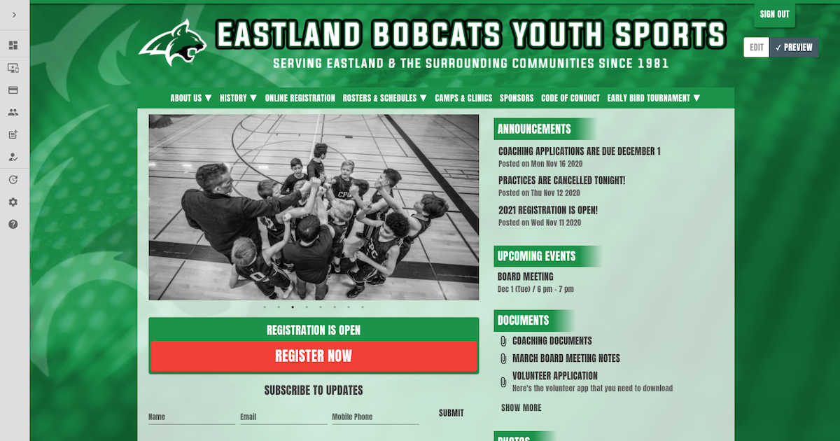 a youth sports website builder with registration and messaging