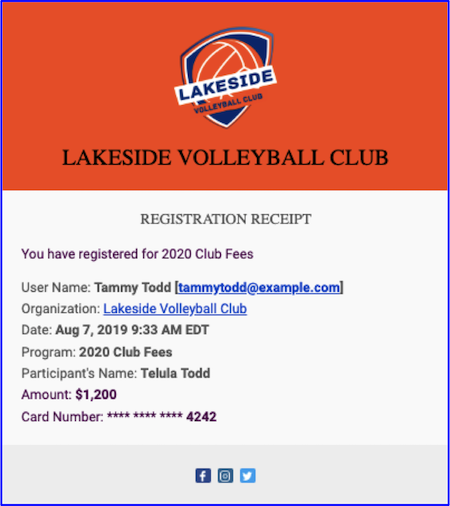 a receipt for club volleyball payments