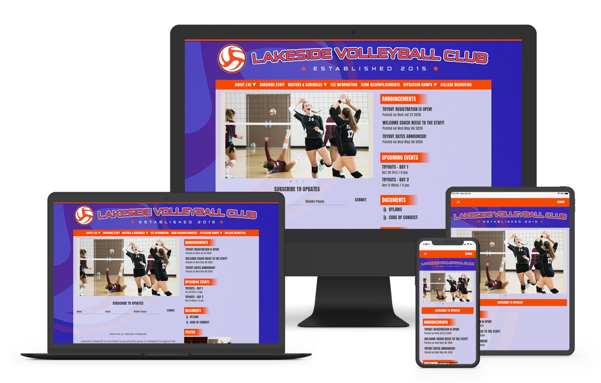 a website builder for volleyball clubs with online payments and registration