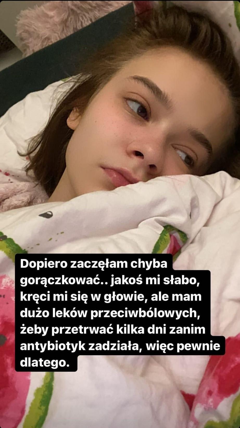 Julia Wróblewska_instastory_choroba
