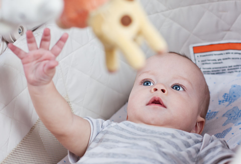 Baby Boy in crib Reaching for Toy