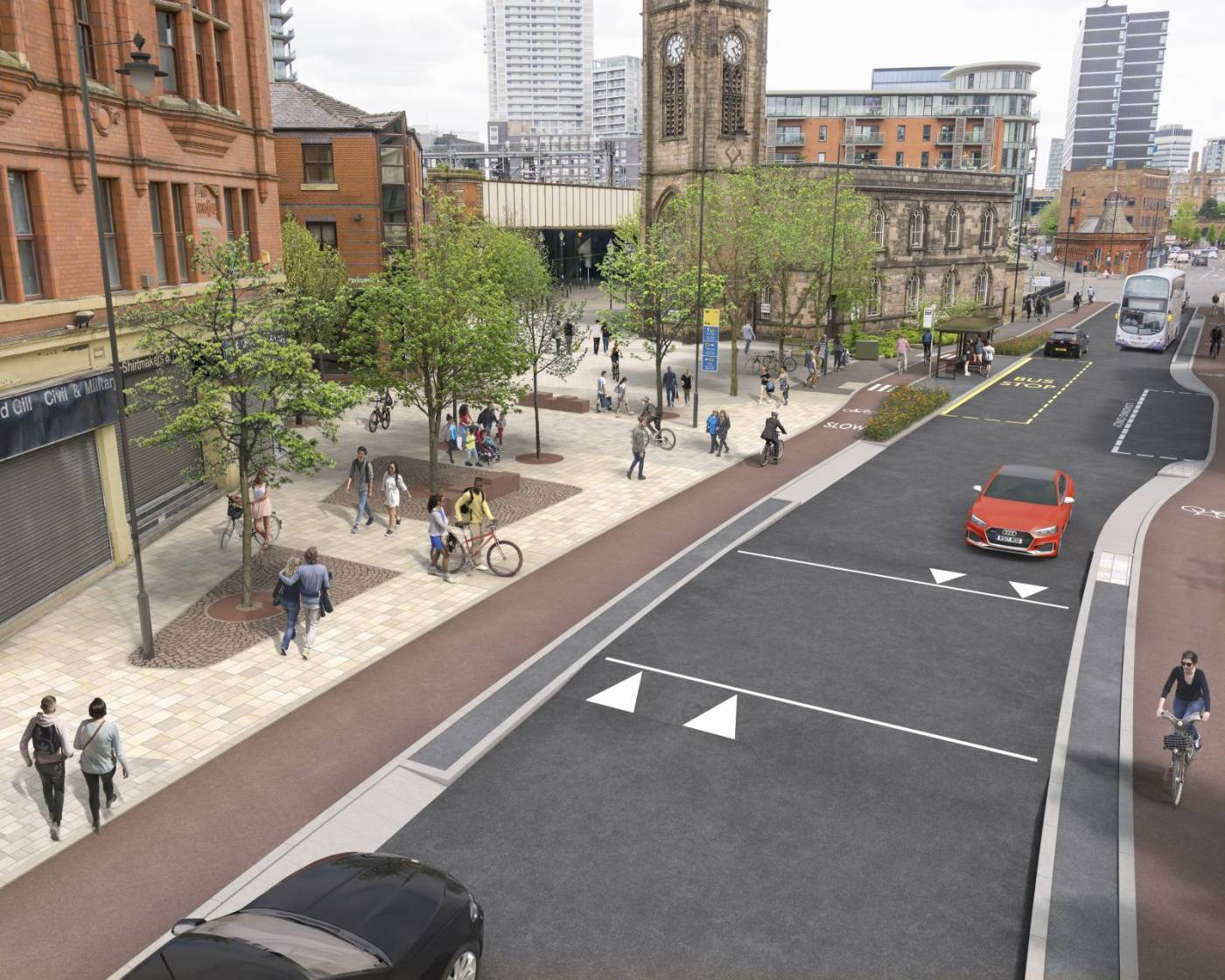 A visualisation of how Chapel Street East could look with new cycling and walking improvements