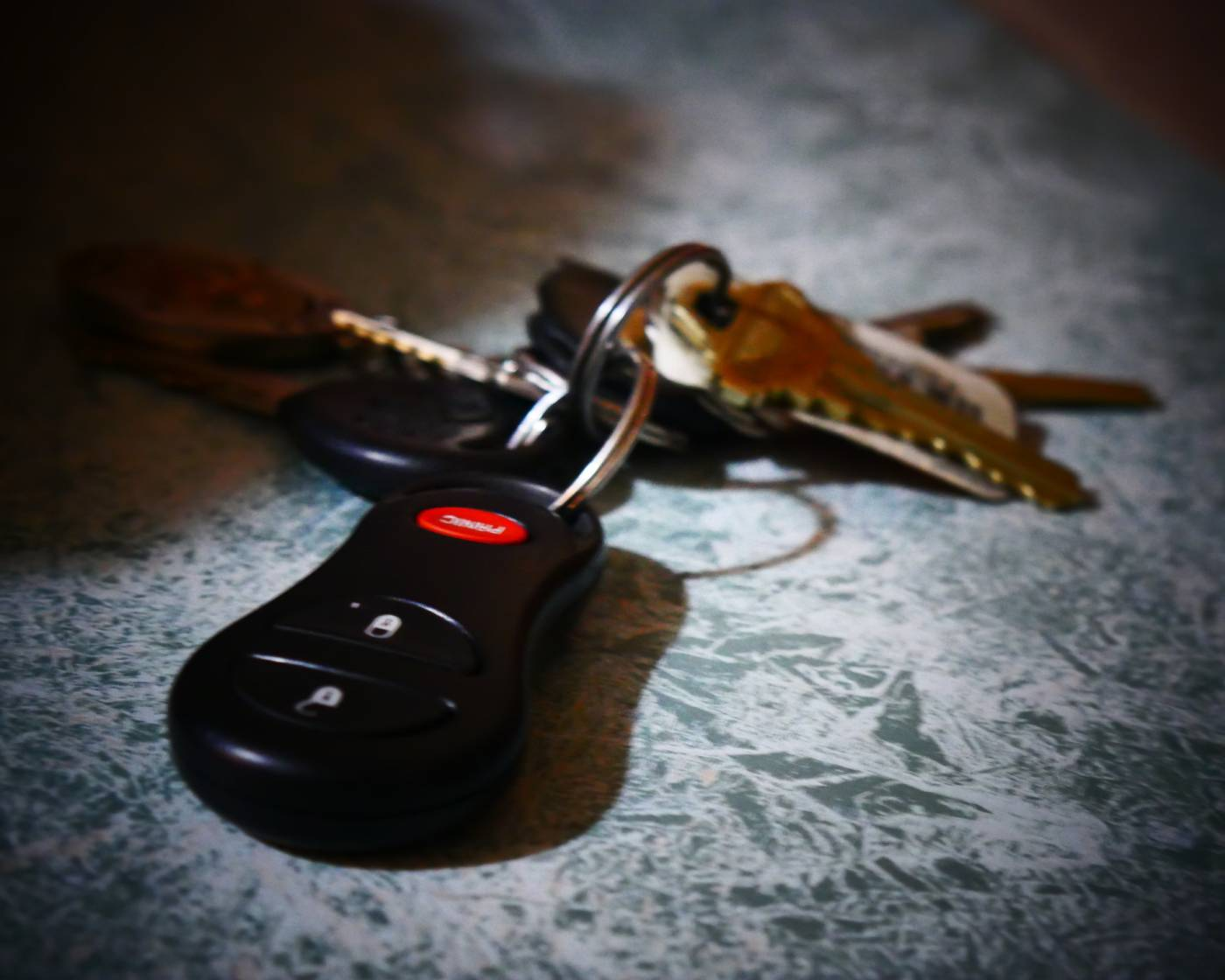 Car keys on a table