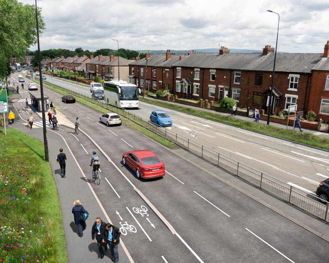 A visualisation of how Warrington Road in Wigan could look with cycling and walking facilities