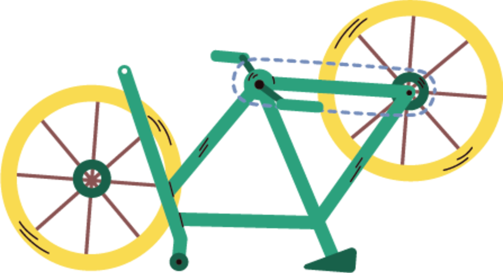 Illustration of a broken bike