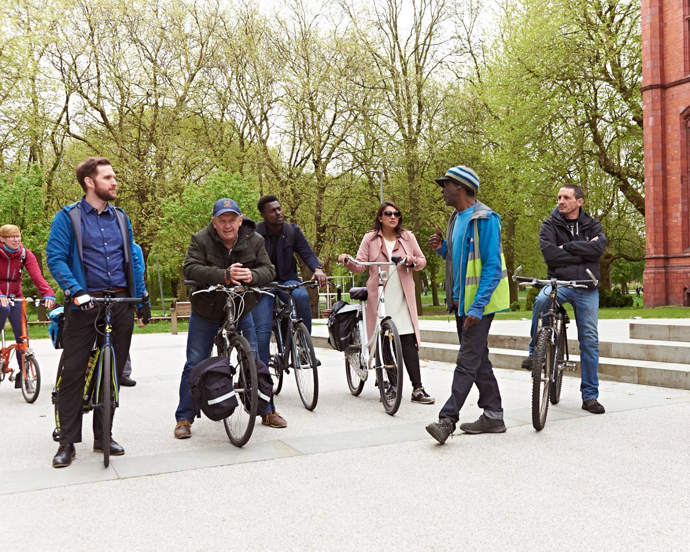 Group of people doing cycling training