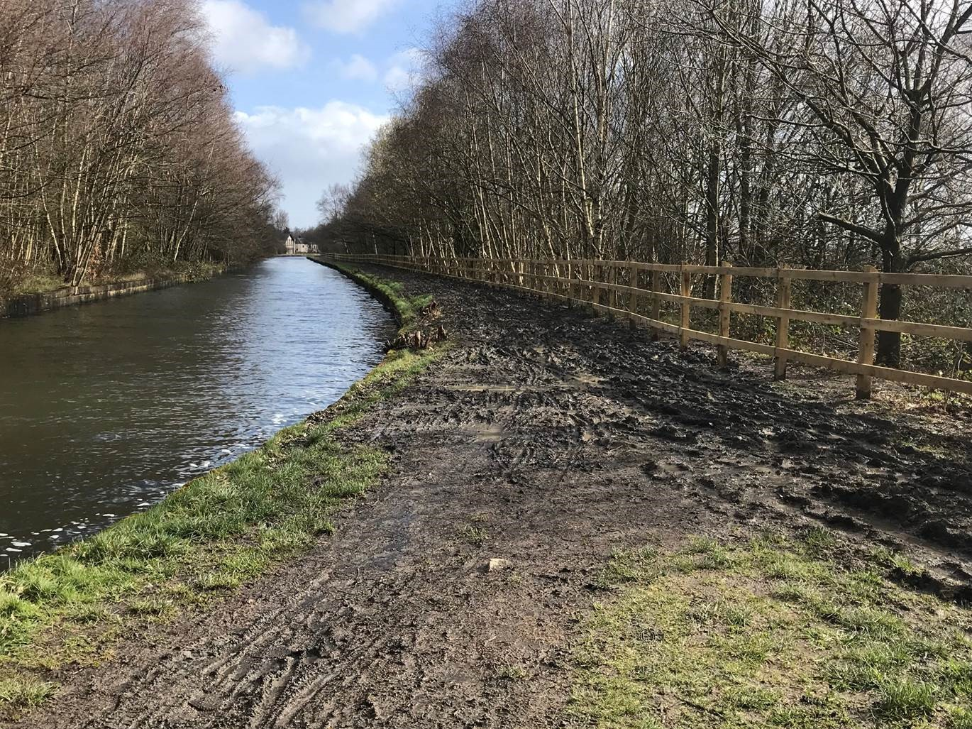 Bridgewater Canal towpath in Wigan before any improvements were made