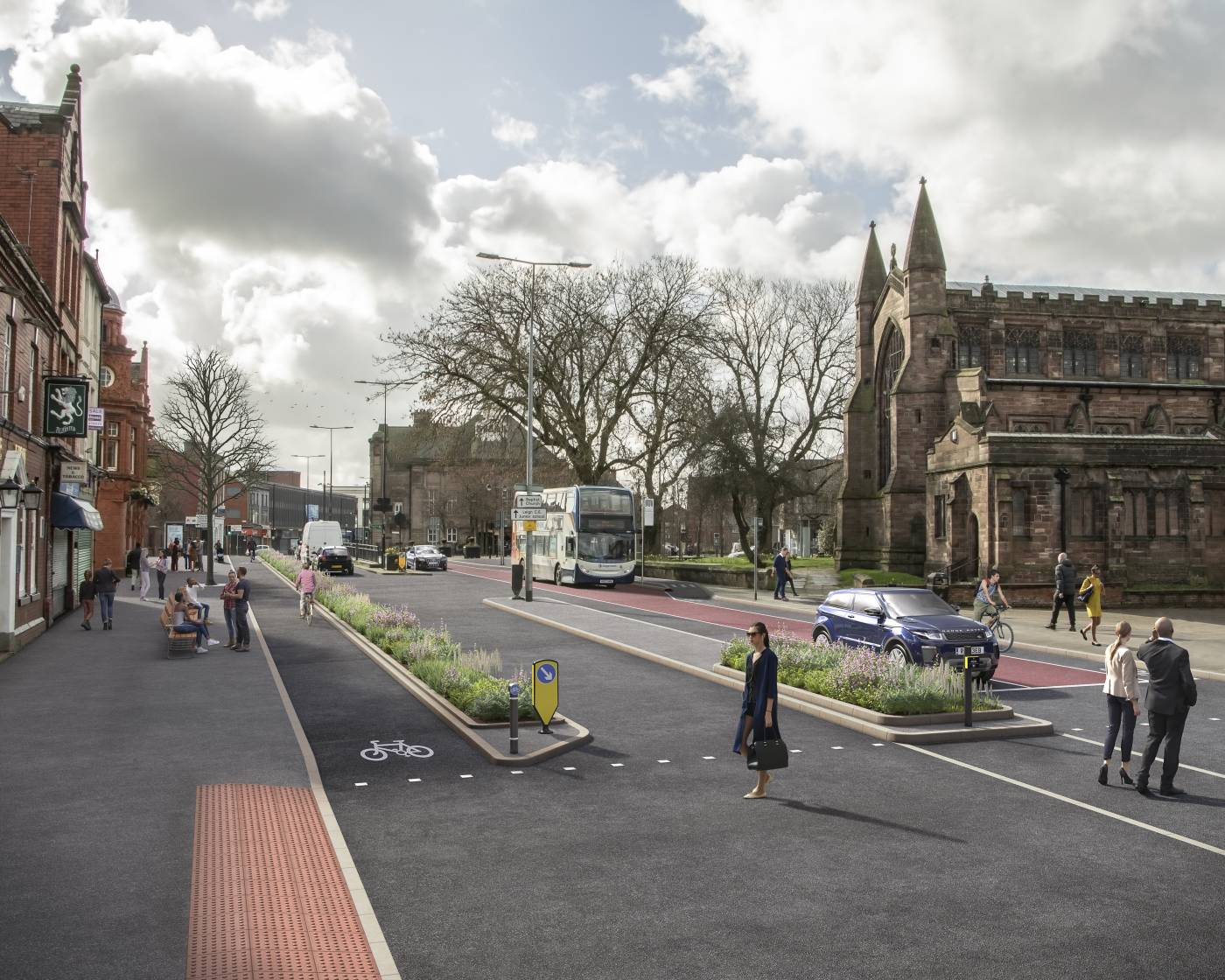 A visualisation of how cycling and walking facilities in Leigh could look
