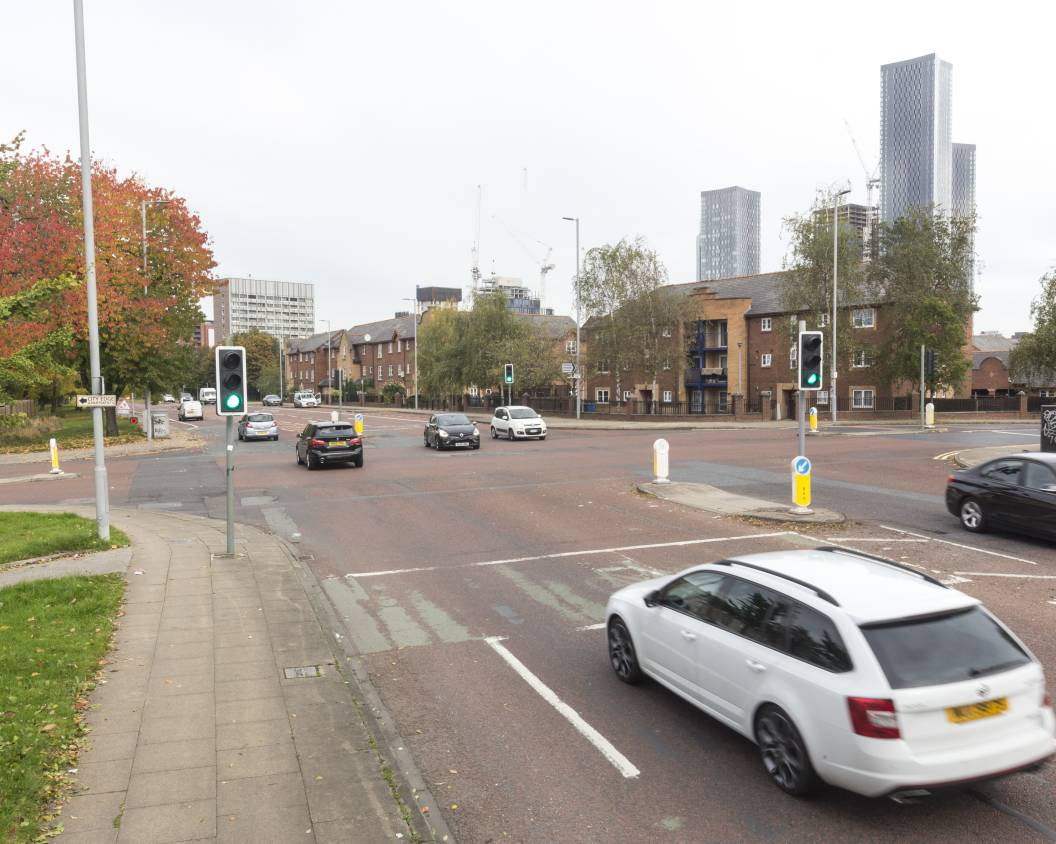 Image of Royce Road junction in Hulme before CYCLOPS junction improvements were made