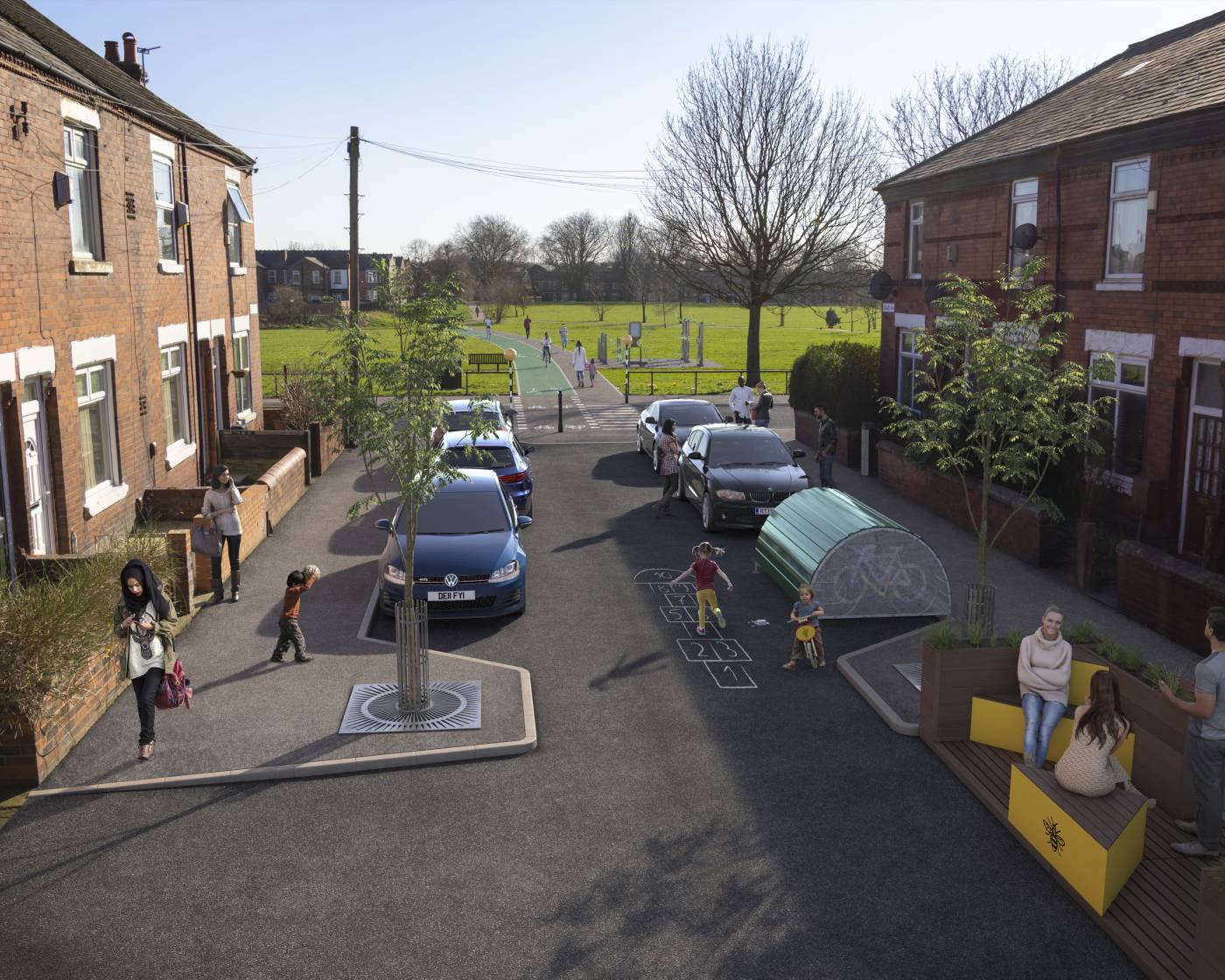 Visualisation of road in Levenshulme, with cycling and walking improvements