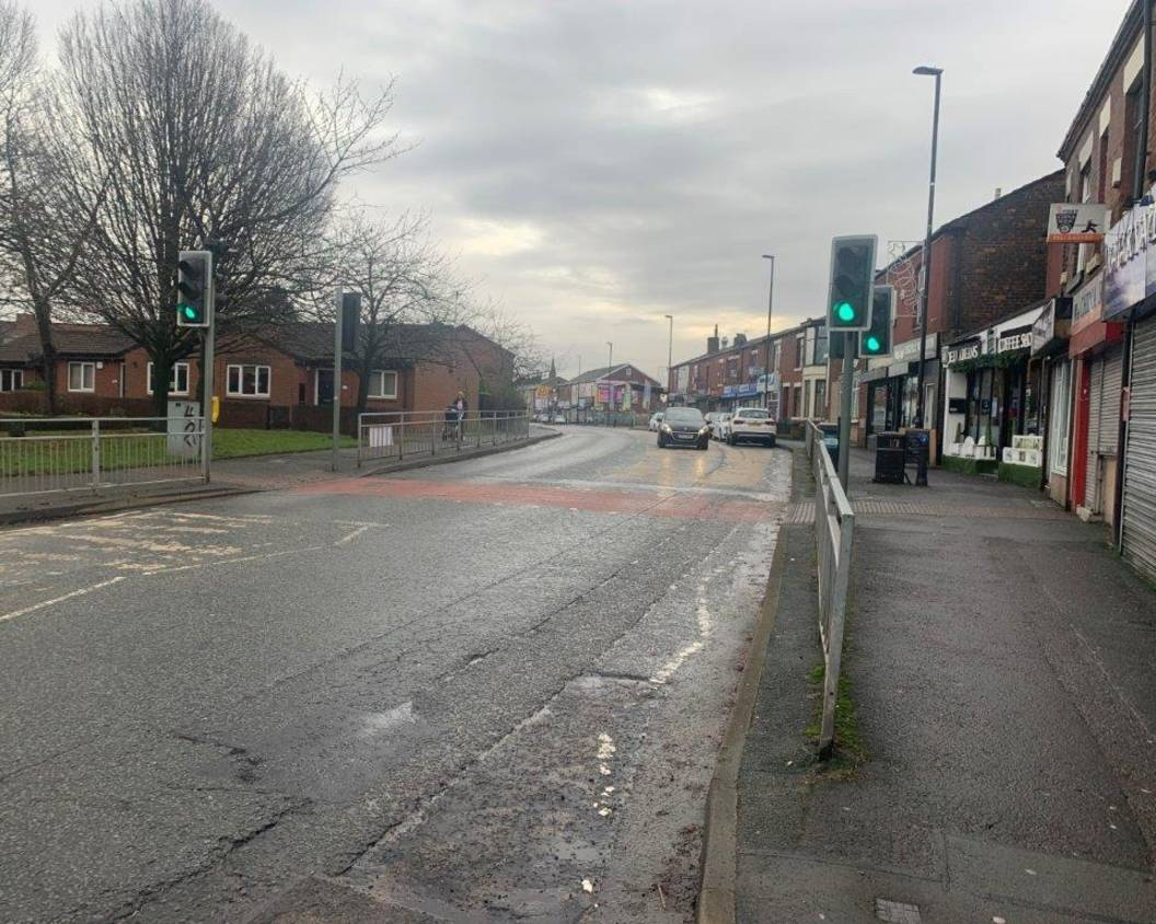 Image of Castleton in Rochdale, a main road before cycling and walking improvements are put in